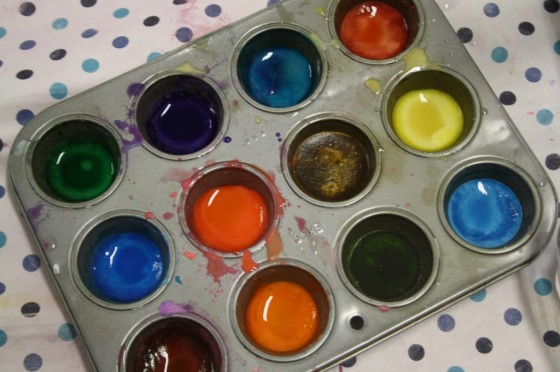 tray of homemade watercolours