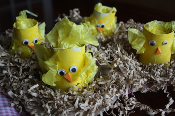 set of toilet roll easter chicks in nests