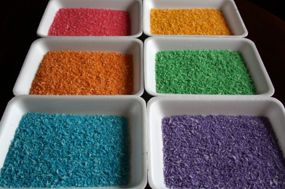 6 colours of rainbow rice dyed for sensory bins and sensory activities