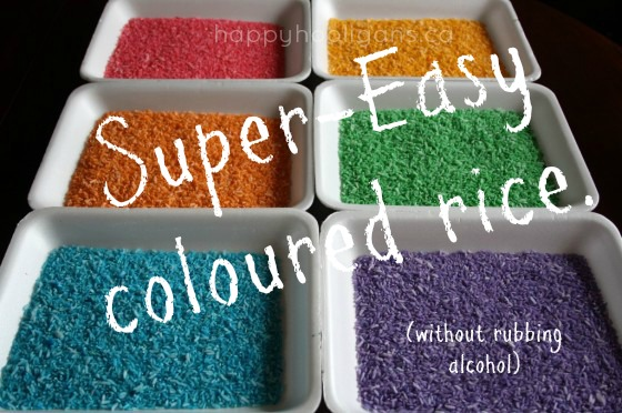 easiest way to make coloured rainbow rice