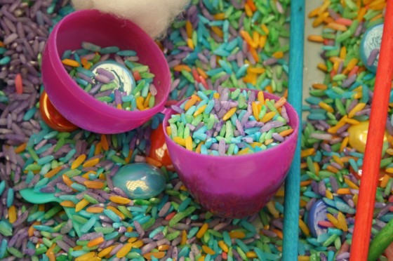 rice sensory bin close up