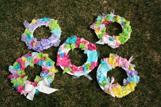 5 tissue paper easter wreaths in the grass