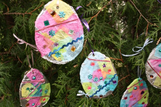 egg decoration with tin foil and tissue paper