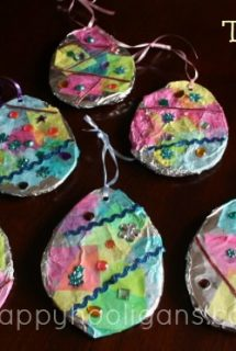 Tin Foil and Tissue Paper Easter Egg Craft for Preschoolers