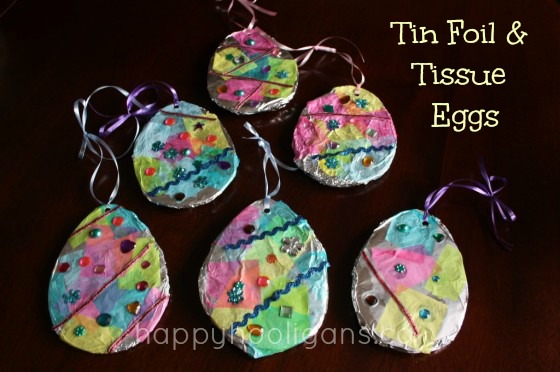 tin foil and tissue Easter eggs