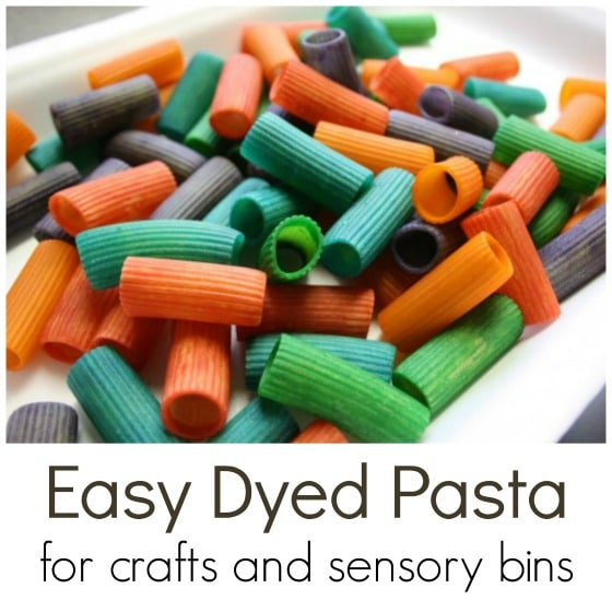 fast easy way to dye pasta for crafts and sensory bins