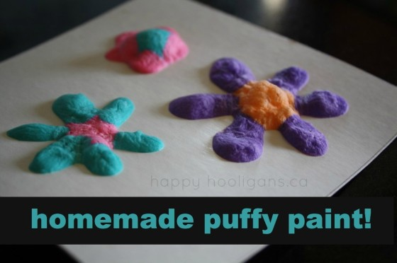 homemade puffy paint - self rising flour, salt, water, food colouring