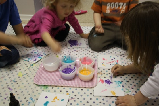 kids painting with homemade microwave puffy paint