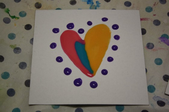 puffy painted heart ready for the microwave