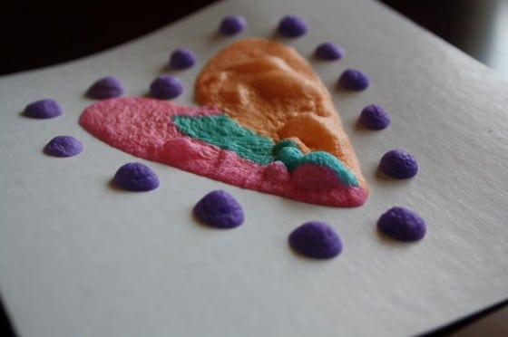 puffy paint heart baked in microwave