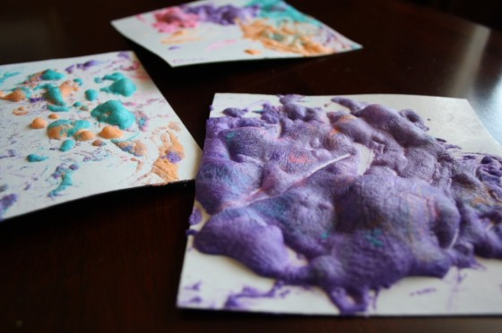 3 homemade puff paint projects by preschoolers