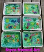 Spring Art Project for Toddlers – Styrofoam Meat Trays & Foam Shapes