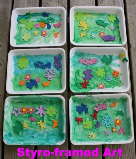 Spring Art Project for Toddlers with styrofoam meat trays - Happy Hooligans