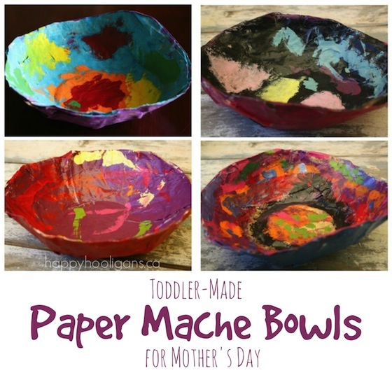 Paper mache bowls a gift for kids to make and give for Simple paper mache projects