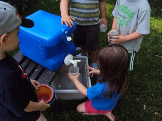 running water for play in the backyard