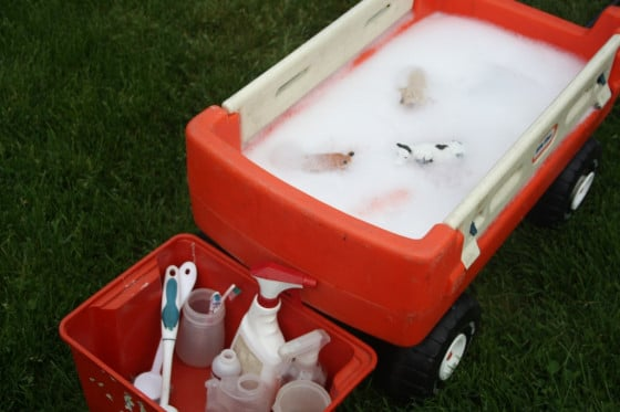 washing up in a wagon