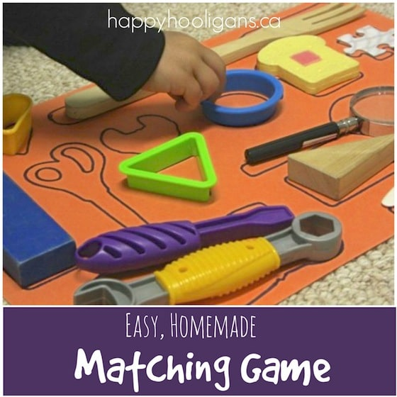 Easy homemade matching game for preschoolers - Happy Hooligans