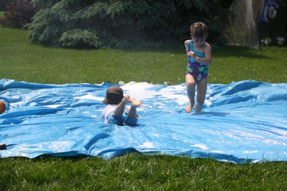diy water slide with mild shampoo