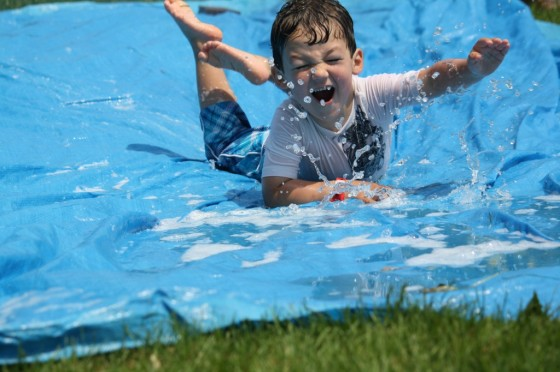diy water-slide tarp garden hose