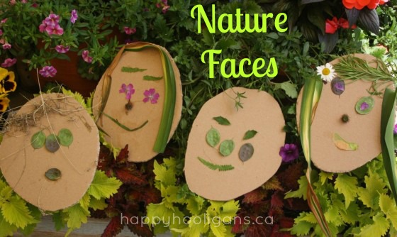 nature faces - toddler art with flowers and leaves