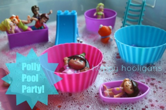 polly pocket pool party activity bin
