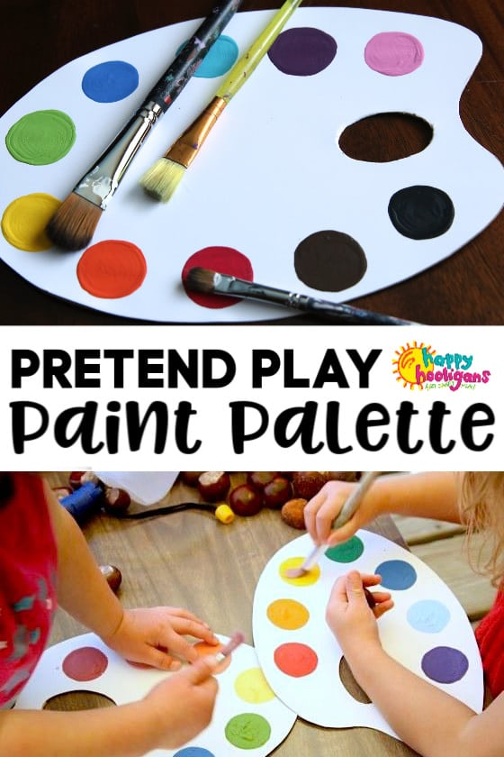 DIY Pretend play paint palette for toddlers and preschoolers