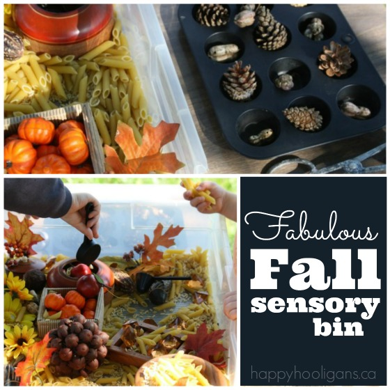 fall sensory bin for toddlers and preschoolers
