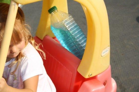 preschooler in coup car