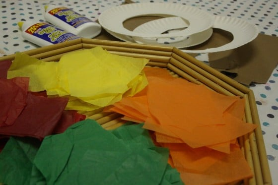 supplies for tissue paper fall wreath