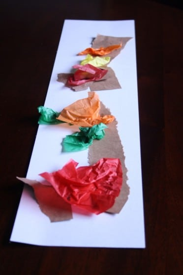 toddler fall art with tissue paper and torn paper bag