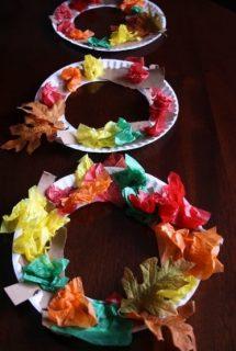 Tissue Paper Fall Wreath