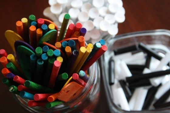 golf tees and crafts sticks for constructing with styrofoam
