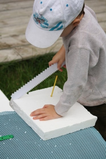 cutting with a cake decorating tool - building with styrofoam
