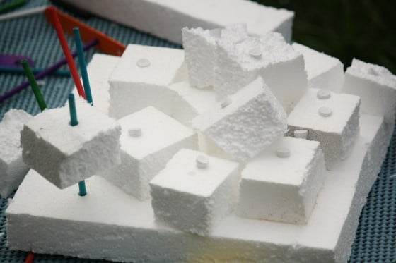 styrofoam construction play