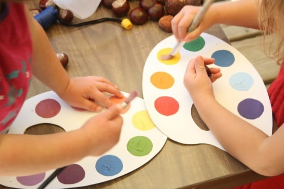 acrylic paints and cardboard for pretend paint pallet