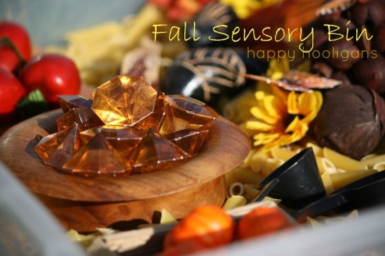 fall sensory bin for daycare
