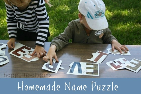 Homemade Name Puzzle to Teach Your Child to Spell His Name