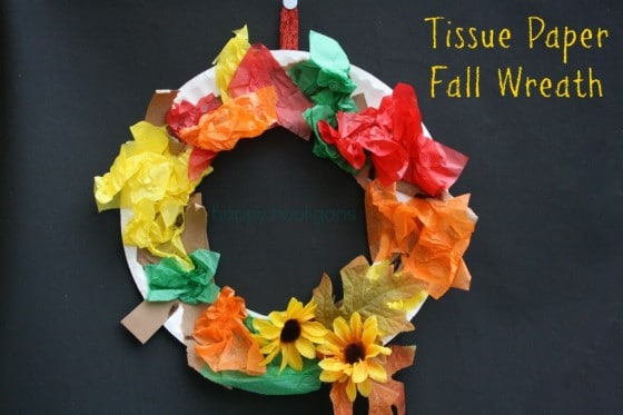 tissue paper fall wreath cover pic & Tissue Paper Fall Wreath - Happy Hooligans