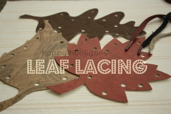 Homemade fall leaf lacing cards for toddlers