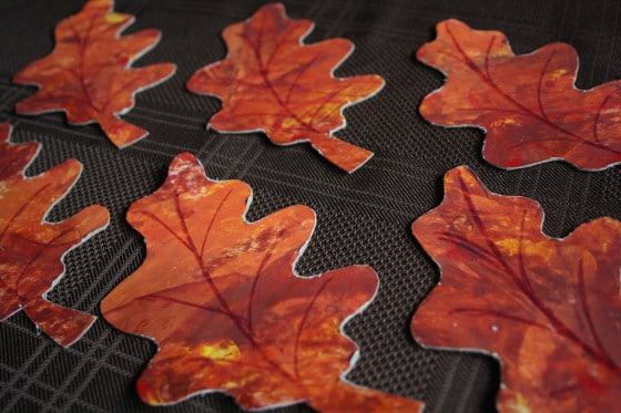 painted fall leaves for homemade thanksgiving napkin rings