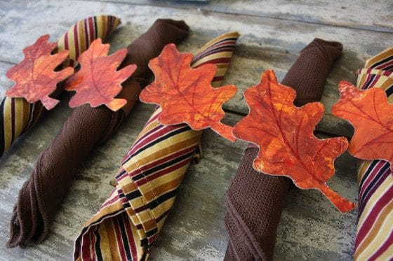 Fall leaf napkin ring craft for kids
