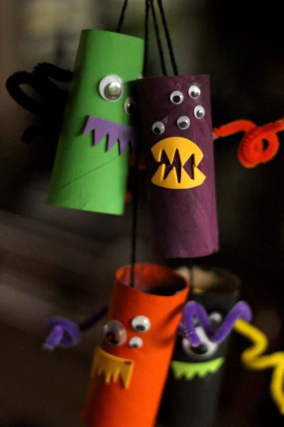 tp roll monsters strung together to make hanging mobile