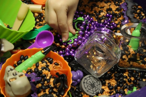 assortment of materials in a Halloween sensory bin