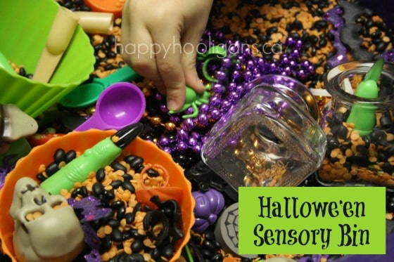 halloween sensory bin for toddlers and preschoolers