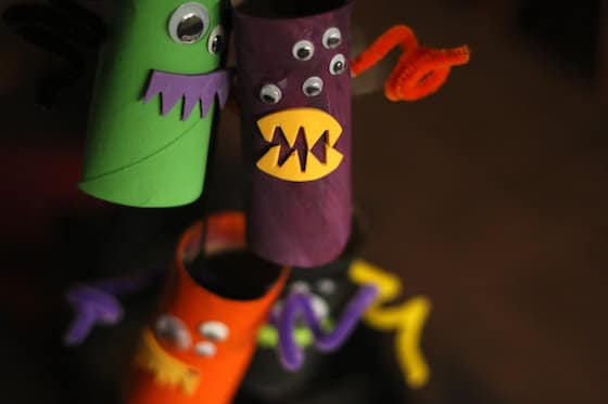Mobile of monsters made from toilet rolls