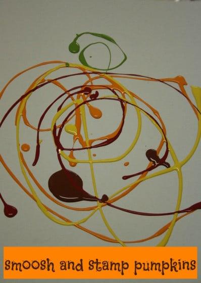 Smoosh and Stamp Pumpkin Art for Kids