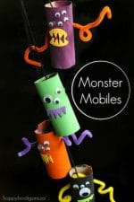 Monster Mobile from Toilet Rolls – a Preschool Halloween Craft