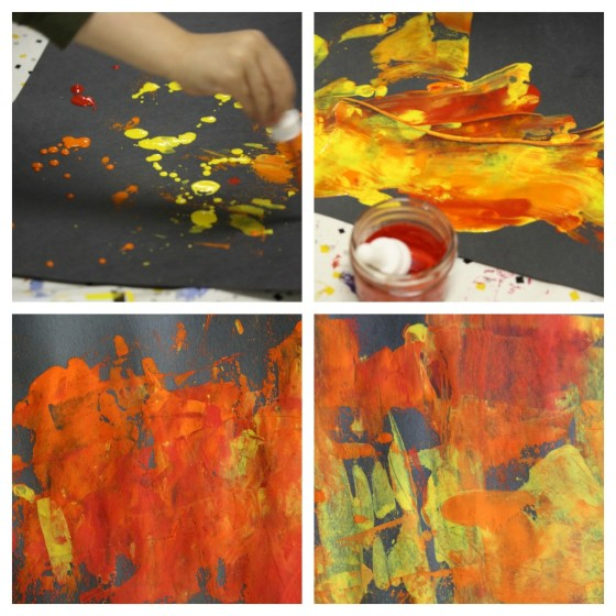 children painting fall colours with credit card