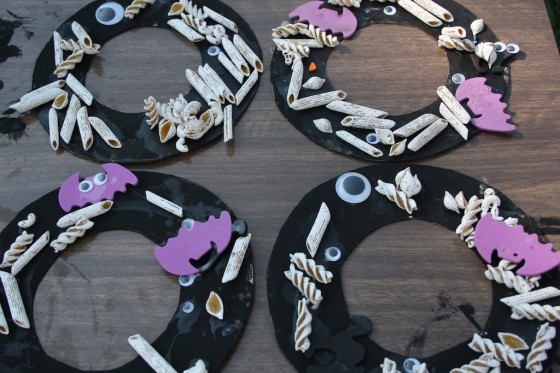 4 spooky halloween wreaths made by toddlers