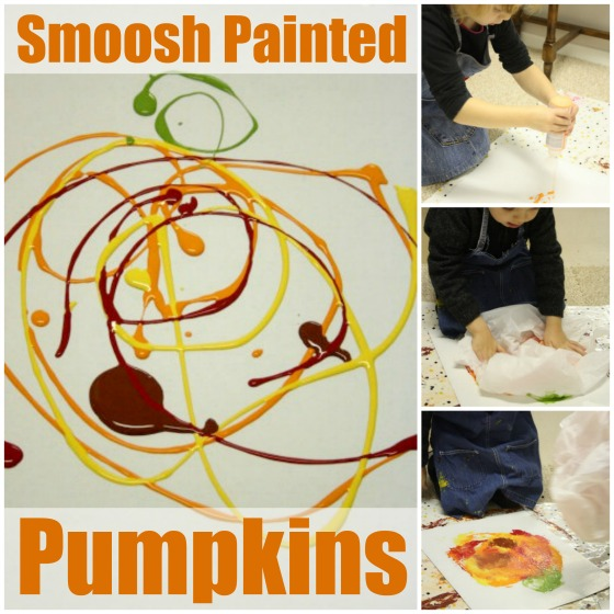 Smoosh and Stamp pumpkin art for kids